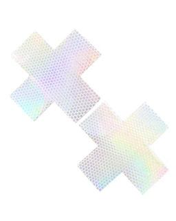Neva Nude Liquid Pure White Hologram Cross Pasties (paque