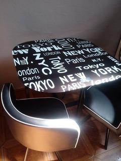 Mesa Vidrio Diseño + Ciudades + 4 Sillas Comedor Exclusivo