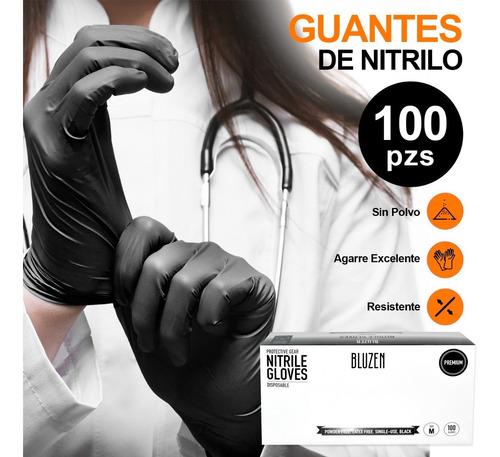 Imagen 1 de 6 de Guantes De Nitrilo Libre De Latex Sin Polvo Azul Negro 100pz