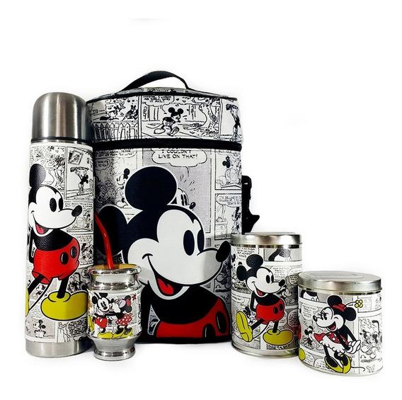 Equipo De Mate Completo Mickey Minnie Cuero Set Kit Matero
