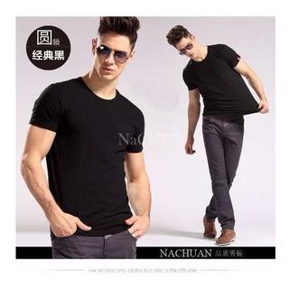 Camisa Slim Fit - Camiseta Lisa Básica - Masculina