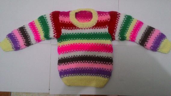 Blusão De Lã Infantil Feito A Mão 2 Anos Feminino (colorido)