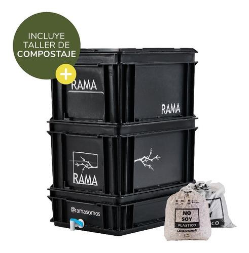 Imagen 1 de 10 de Compostera Rama Somos Balcón 40 Litros Con Canilla