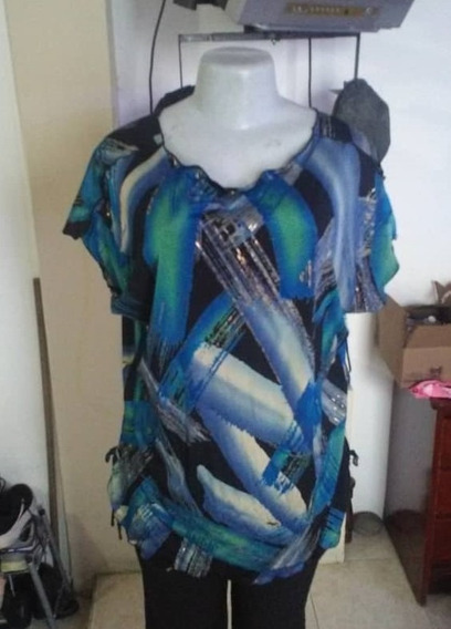Blusa Azul Con Negro Para Dama Talla L