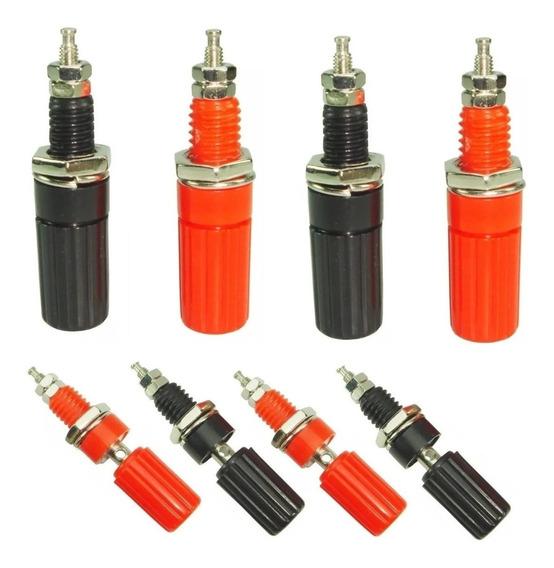 10 Plug 4mm Fêmea - Preto E Vermelho
