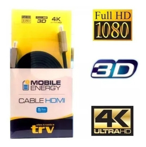 Cable Hdmi Trv 3m 1.4 Full Hd 3d 4k Plano 19 Pines 10.2gbps