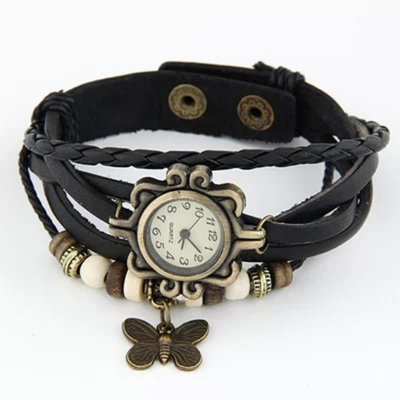 Moda Couro Wrap Pulseira Relógios Preto Pingente De Borbolet