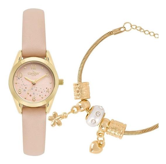 Relógio Feminino Condor Dourado Rose + Pulseira Com Berloque