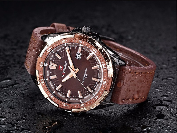 Relógio Masculino Naviforce Nf9056bce Original Marrom Top B