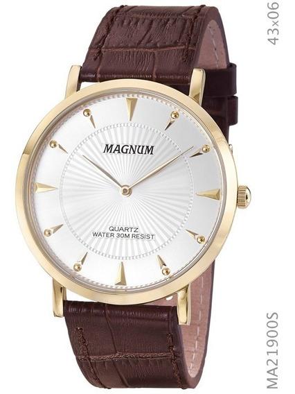 Relógio Masculino Magnum Slim Em Couro Ma21900s