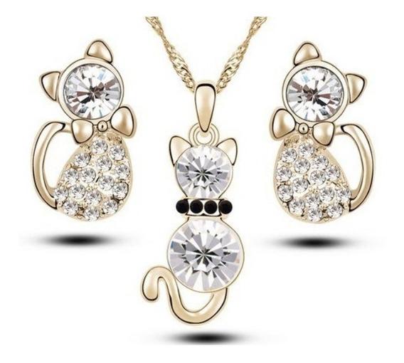 Lote 3 Set De Collar Y Aretes Gatitos Cristales Envío Gratis
