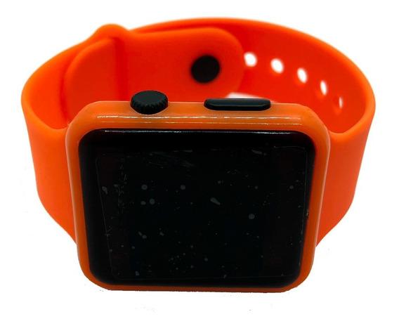 Reloj Led Silicon Tipo Apple Watch Niños Y Adultos Naranja