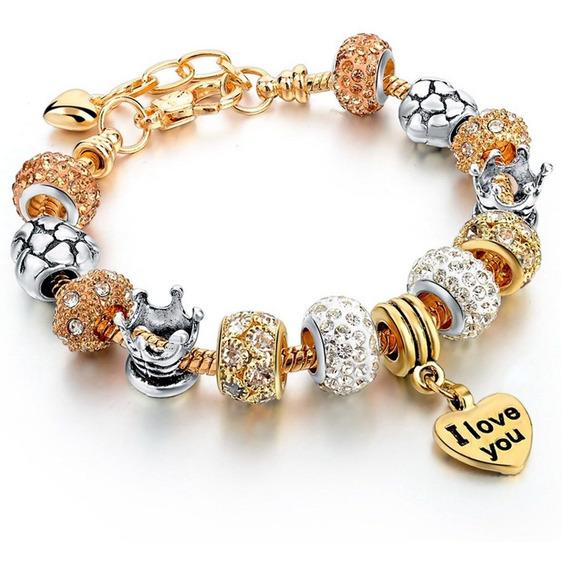 Pulseira Feminina Pandora Banhada A Ouro18k Coração Beads