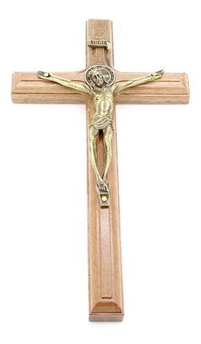 Crucifixo De Parede C/ Medalha São Bento Madeira/metal- 19cm