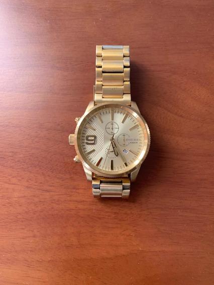 Relógio Diesel Dourado Na Caixa