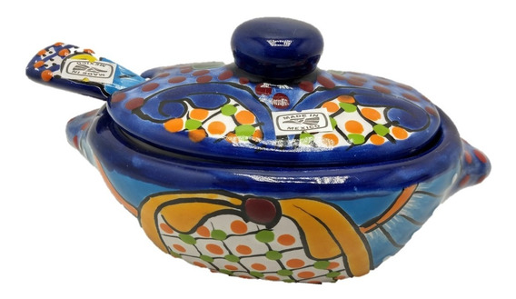 Salsera Talavera Mexicana Con Tapa Y Cuchara