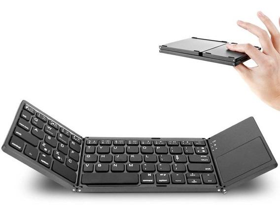 Teclado Bluetooth Dobrável Modo Dual Touchpad iPad Pro Prata