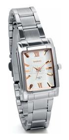Relógio Quadrado Bariho Branco Prata Aço Cromado Luxo