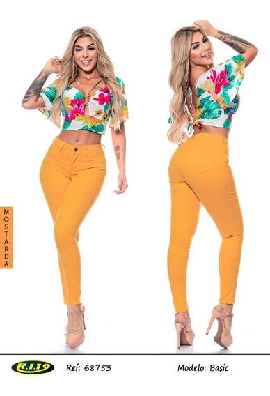 Calça De Sarja Amarela Ri19 Basic 68753