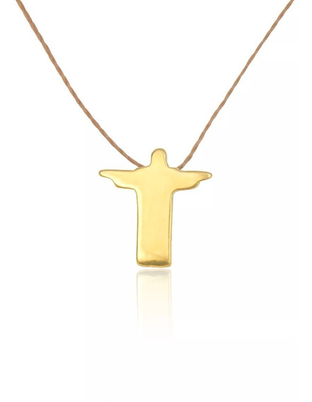 Colar Pingente Banhado Ouro Cristo Redentor Berkat Sku 19410