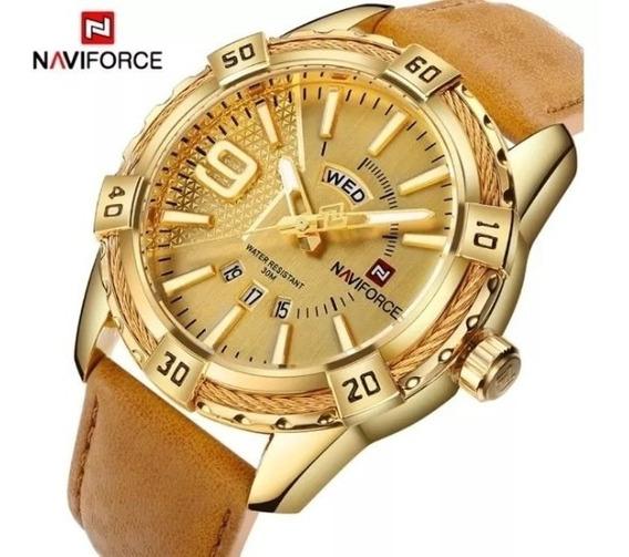Relógio Naviforce 9117 Analógico Aço Inox - Dourado
