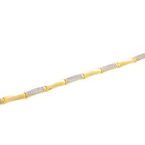 Pulseira Gomos Retangulares Lisos E Cravejados 18cm Semijoia