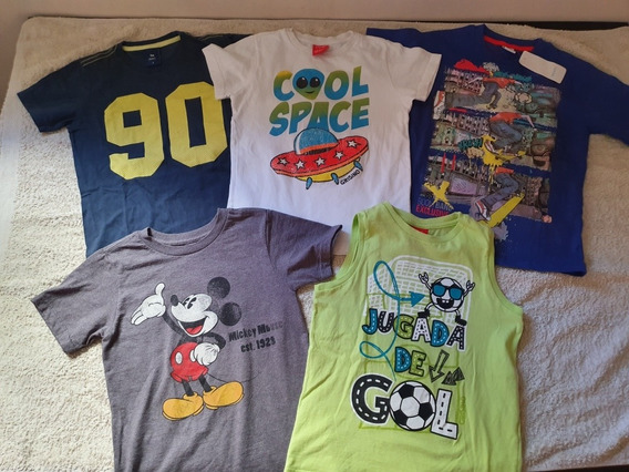 Lote 5 Remeras Talle 6 Mangas Cortas Disney Store Mimo