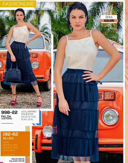 Falda C/forro Azul Marino 998-22 Cklass Primav-verano 2020