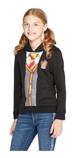 Moletom Harry Potter Hogwarts Capuz Brilho Menina Infantil