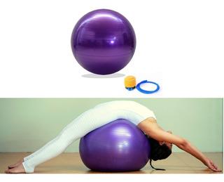 Bola Suiça Fisioterapia E Pilates Roxa 65cm Anti Explosão