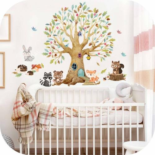 Vinilo Decorativo Infantil Arbol Y Animales Del Bosque Bebe