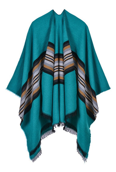 Mujer Poncho Cardigan Suéter Color Contraste Rayas