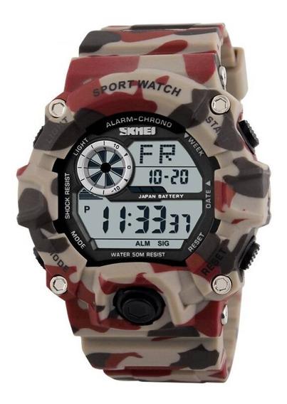 Relógio Camuflado Masculino Digital Original Esportivo Skmei