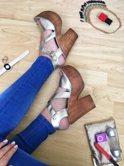Zapatos Dorados De Mujer Importados De Usa Con Plataforma