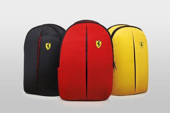 Mochila Shell Ferrari Nas Cores Preta, Vermelha E Amarela