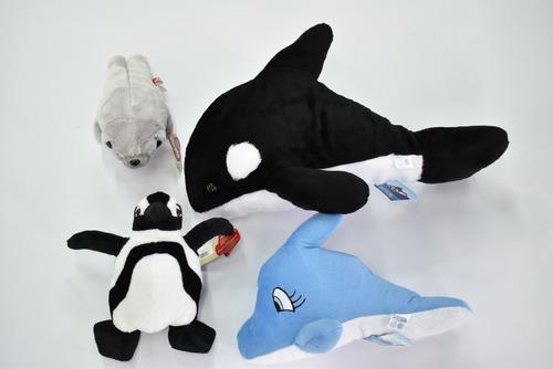 Imagen 1 de 1 de Orca 60cm-delfín 37cm-pingüino 30cm-lobo M 28cm Mundo Marino