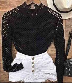 Conjunto Body Arrastao Furadinho + Short Branco Jeans