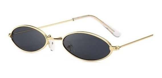Óculos Retrô Pequeno Sol Vintage Proteção Uv400 Oval Preto