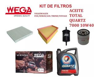 Kit De 4 Filtros + Aceite Total 7000 10w40 Para Vw Gol Trend Fox Suran Voyage