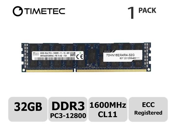 Memoria Ram 32gb Timetec Hynix Ddr3 1600mhz Pc3-12800 Registered Ecc 1.5v Cl11 4rx4 Quad Rank 240 Pin Rdimm Server Modul