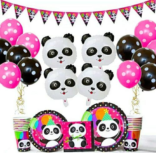 Kit Globos Decoración Oso Panda Fiesta Cumpleaños X10 Inv