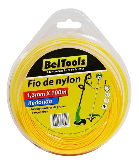Fio De Nylon Redondo Roçadeira 1,3mm X100m Beltools