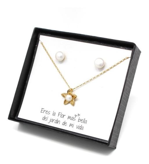 Set Collar Y Aretes De Flor Con Perlas Chapa De Oro De 22k