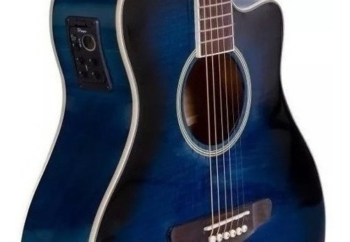 Guitarra Acustica Mini Jumbo Con Corte Y Eq4 Azul