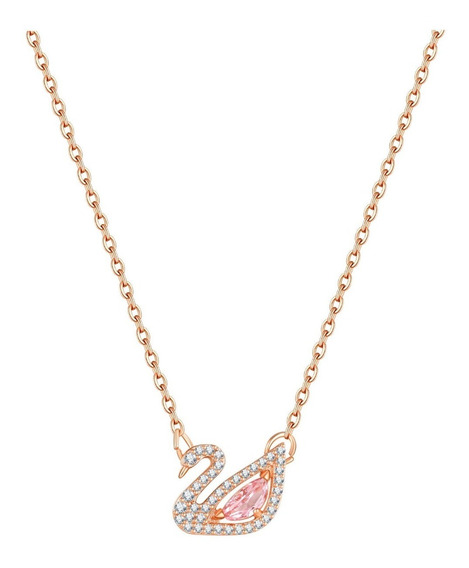 Fino Collar Dije Cisne Corazón Cristal Swarovski Mujer