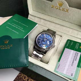 Rolex Sky Dweller Azul Prata Com Caixa E Documentos