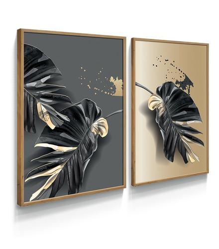 Quadro Decorativo Folha Planta Cinza Dourado Gold Sala Quart