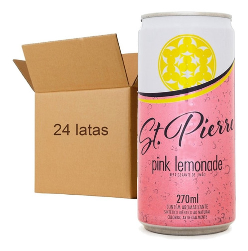 Imagem 1 de 4 de 24x Agua Tônica St Pierre Pink Lemonade Lata 270ml