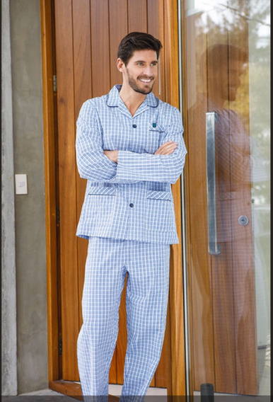 Pijama Camisero Manga Y Pantalon Largo