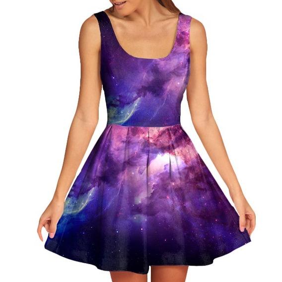 Vestido Feminino Doll Boneca Galaxia Galaxy Nebulosa 3d #5